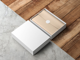 Opened White Gift Box Mockup with kraft wrapping paper and round label on modern floor