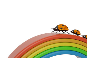 A family of ladybirds creeps along a rainbow isolated on white background 3D illustration.