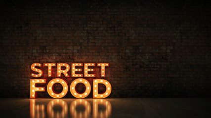 Neon Sign on Brick Wall background - Street food. 3d rendering