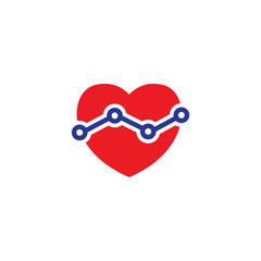 love heart with chart graph logo icon vector