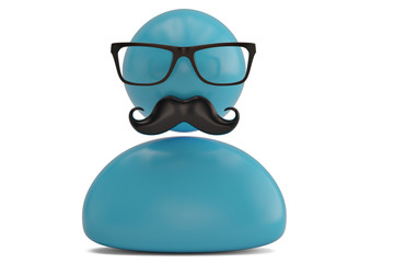 Glasses and mustache icon isolated on white background 3D illustration.