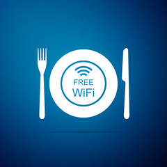 Restaurant Free Wi-Fi zone icon isolated on blue background. Plate, fork and knife sign. Flat design. Vector Illustration