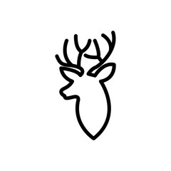 head Deer logo line art vector