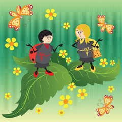 Red and yellow ladybugs. Drawing for kids. Nature. The cartoon characters. Design for banner, poster, children's goods, textiles, emblems, books, and background image.