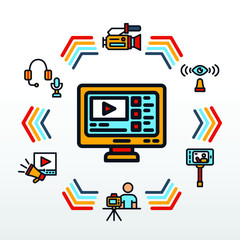 Video Blogger Infographic With Retro Themed Icon
