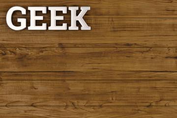 Steel geek logo on wood board 3D illustration.