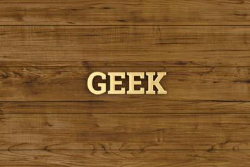 Golden geek logo on wood board 3D illustration.