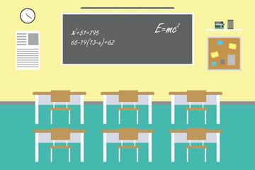 Empty classroom interior,school furniture,