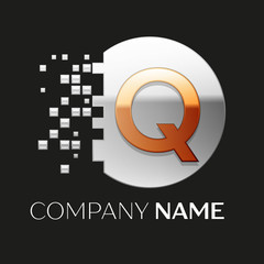 Realistic Golden Letter Q logo symbol in the silver colorful pixel circle shape with shattered blocks on black background. Vector template for your design