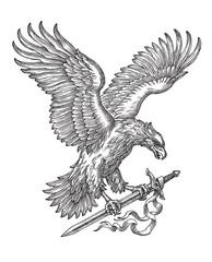 Орёл несущий меч в когтях, рисунок на белом фоне, аллегория победы и храбрости.
