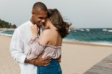 Interracial couple beach in Girona