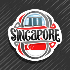Vector logo for Singapore country, fridge magnet with state flag, original brush typeface for word singapore and national symbol - resort hotel Marina Bay Sands on blue cloudy sky background.