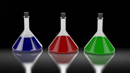 Three chemistry tubes with different colors of liquid.