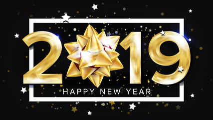 2019 Happy New Year Background Vector. Decoration Element. Beautiful Golden Gift Bow. Christmas. Illustration