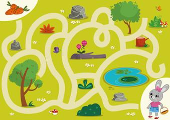 Rabbit  Maze Game for Children. Vector illustration.