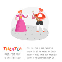 Theater Actor Characters. Flat People Theatrical Stage Poster. Artistic Perfomances Man and Woman. Vector illustration