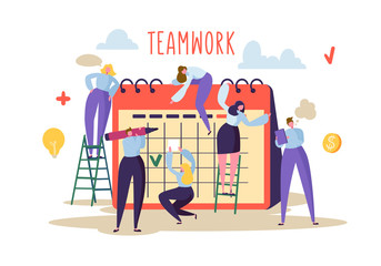 Business Teamwork Concept. Flat People Characters Working Together and Planning Schedule on Desk Calendar. Vector illustration
