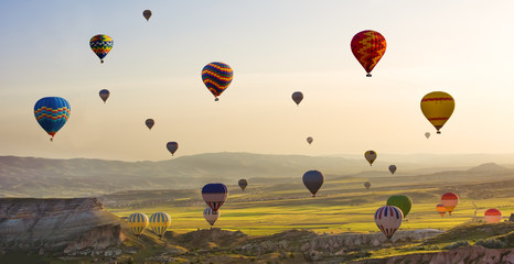 The great tourist attraction of Cappadocia - balloon flight. Cappadocia is known around the world as one of the best places to fly with hot air balloons. Goreme, Cappadocia, Turkey. Panorama