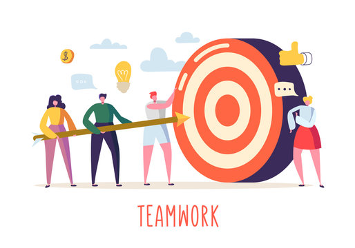 Business Teamwork Concept with Flat People Characters and Target. Goal Achievement, Motivation, Leadership, Idea. Vector illustration