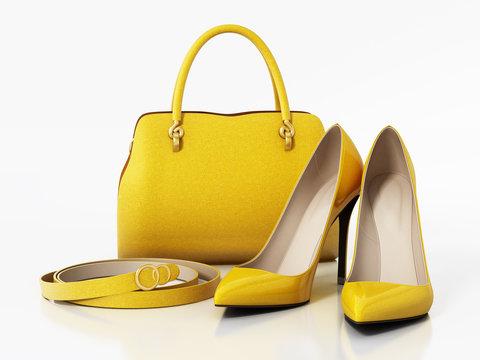 Yellow handbag, shoes and belt isolated on white background. 3D illustration