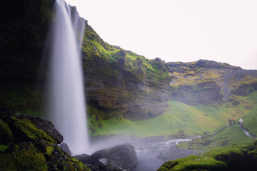 Beautiful Kvernufoss waterfall in south Iceland Summer.
