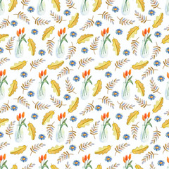 Seamless watercolor autumn pattern