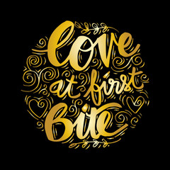 Love at first bite hand lettering on circle background.