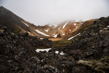Landmannalaugar in cloudy day ,Iceland Summer.