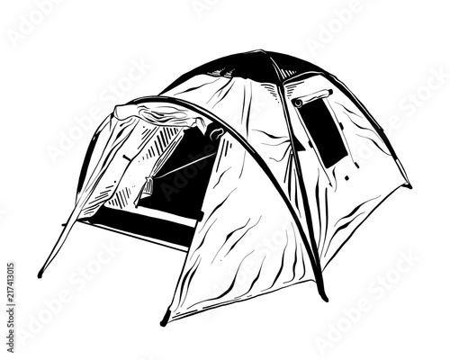 vector engraved style illustration for posters decoration and print 1880s Fashion hand drawn sketch of c ing tent in black isolated on white background detailed vintage etching style drawing