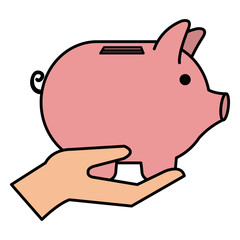 hand with piggy savings