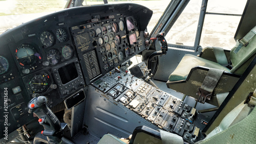 Control panel in military helicopter cockpit, copter