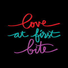 Love at first bite hand lettering