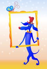 Синяя собака такса в малиновой шляпе в картинной раме