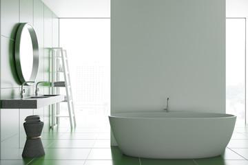 Green tile bathroom interior