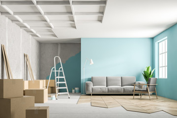Blue living room interior during renovation