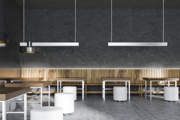 Black and wood minimalistic restaurant interior