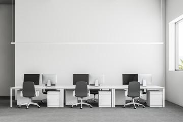 Gray industrial startup office interior, mock up
