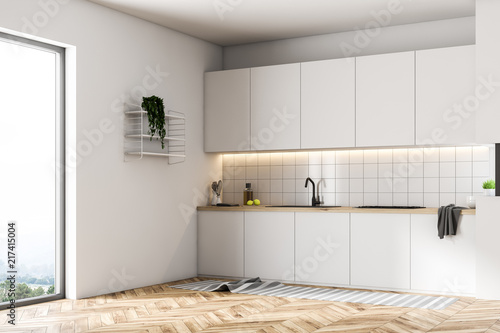 Luxury White Kitchen Interior Tiles Side View Stockfotos Und Delectable Kitchen Luxury White