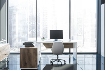 Gray panoramic manager office, wooden desk
