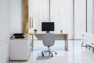White pannel manager office interior, window