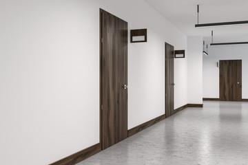 Hotel corridor with closed wooden doors