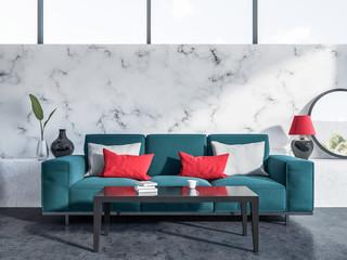 Marble living room, blue sofa