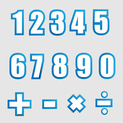white paper graphic alphabet numbers on blue