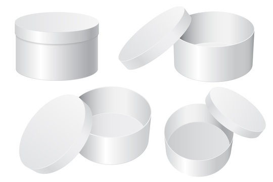 Round gift box. White blank open and closed containers