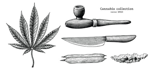Cannabis collection hand draw vintage clip art isolated on white background