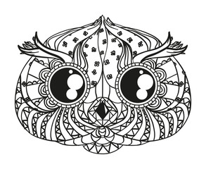 Head of owl on white. Zen art. Zentangle. Hand drawn bird with intricate patterns on isolated background. Design for spiritual relaxation for adults. Black and white illustration for coloring. Print