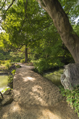 Large stone bridge named Togetsu bridge on a pond under a big mapple tree in the garden of Rikugien in Tokyo in Japan.