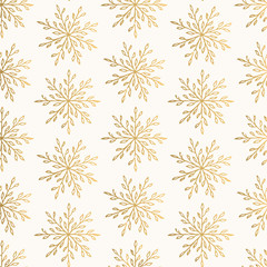 Christmas golden pattern with elegant snowflakes. Seasonal vector ornament. Foil texture.