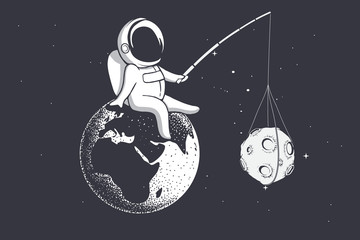 an astronaut sitting on Earth holds Moon with a stick.Vector illustration