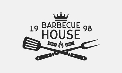 Barbecue House logo. Grill fork and Spatula. Vintage BBQ emblem. Template. Vector illustration